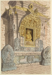 Shrine of the 4th Celestial Buddha Amitabha on the west side of the base of the temple of Adi Buddha, Sambhunath, April 1854